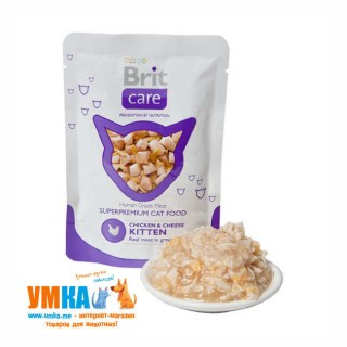 Консервы Brit Care Cat Chicken & Cheese Kitten курица и сыр для котят, паучи 85 г
