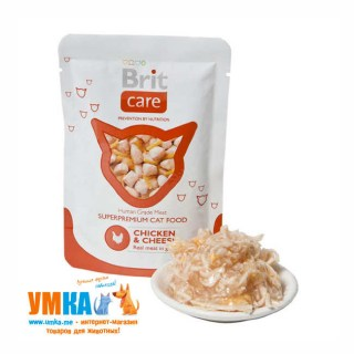 Консервы Brit Care Cat Chicken & Cheese курица и сыр для кошек, паучи, 85 г