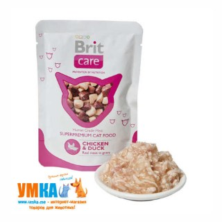 Консервы Brit Care Cat Chicken & Duck, курица и утка для кошек, паучи, 85 г