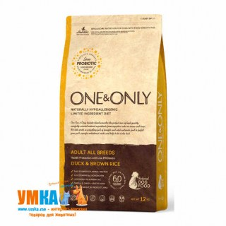 One&Only Adult All Breeds Duck & Brown Rice, корм для взрослых собак всех пород, Утка рис, 12 кг