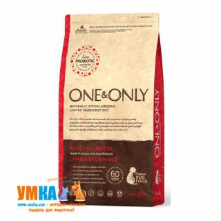 One&Only Adult All Breeds Lamb & Brown Rice, корм для собак всех пород, Ягненок рис, 12 кг